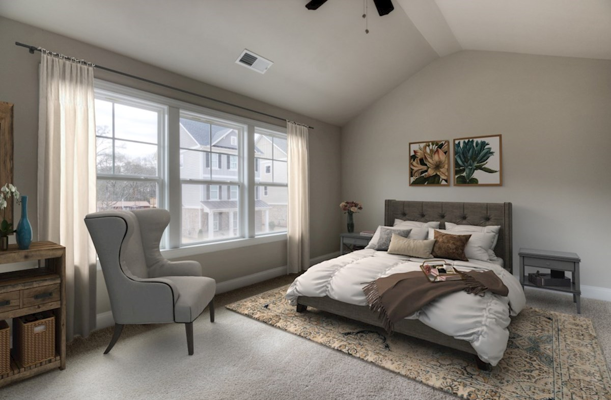 Highland Park Preston Master Bedroom with vaulted ceilings