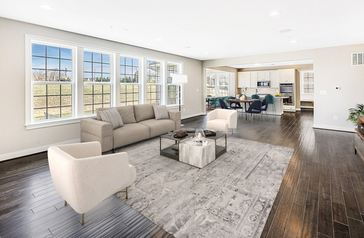 Enclave at River Hill Kingston Kingston great room with multiple large windows