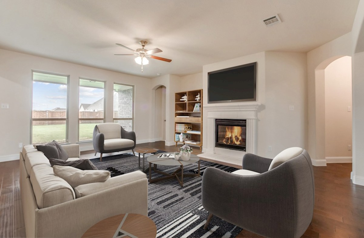 Stoney Creek Degrey Degrey great room with fireplace
