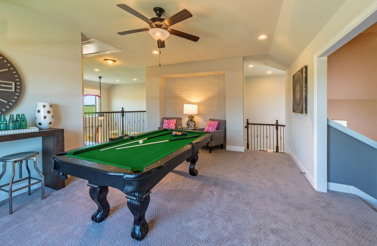 game room offers space for a pool table