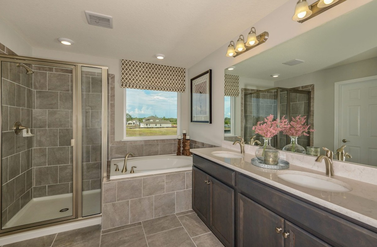 Avalon Park West Cypress Pointe Master bathroom with garden tub and glass enclosed shower