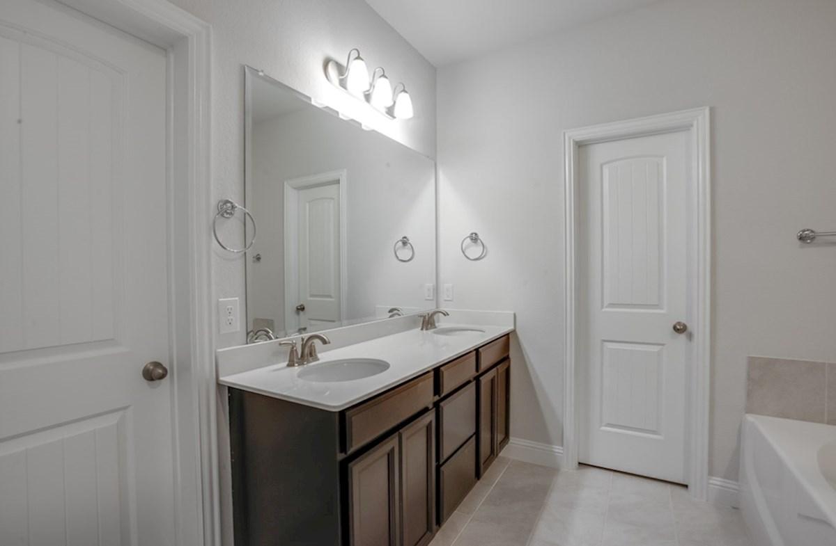 Millbrook quick move-in master bath with dual vanities
