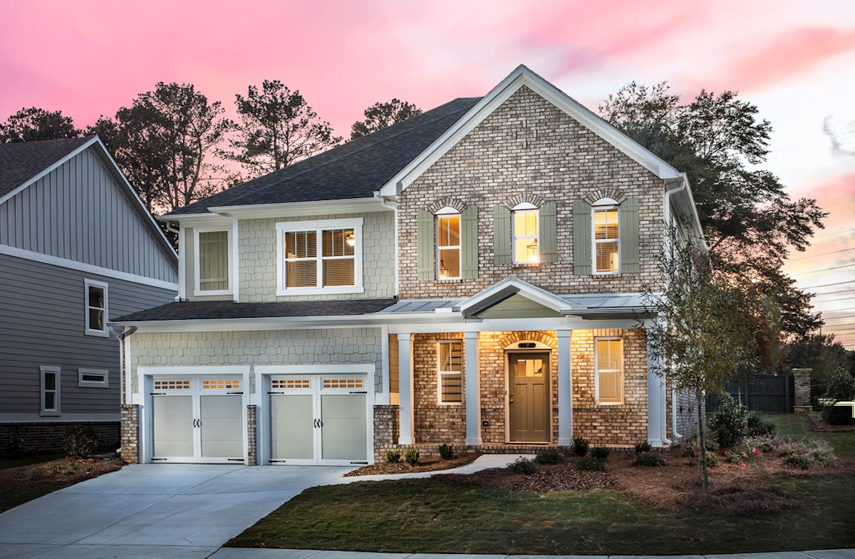 Model home with brick accents
