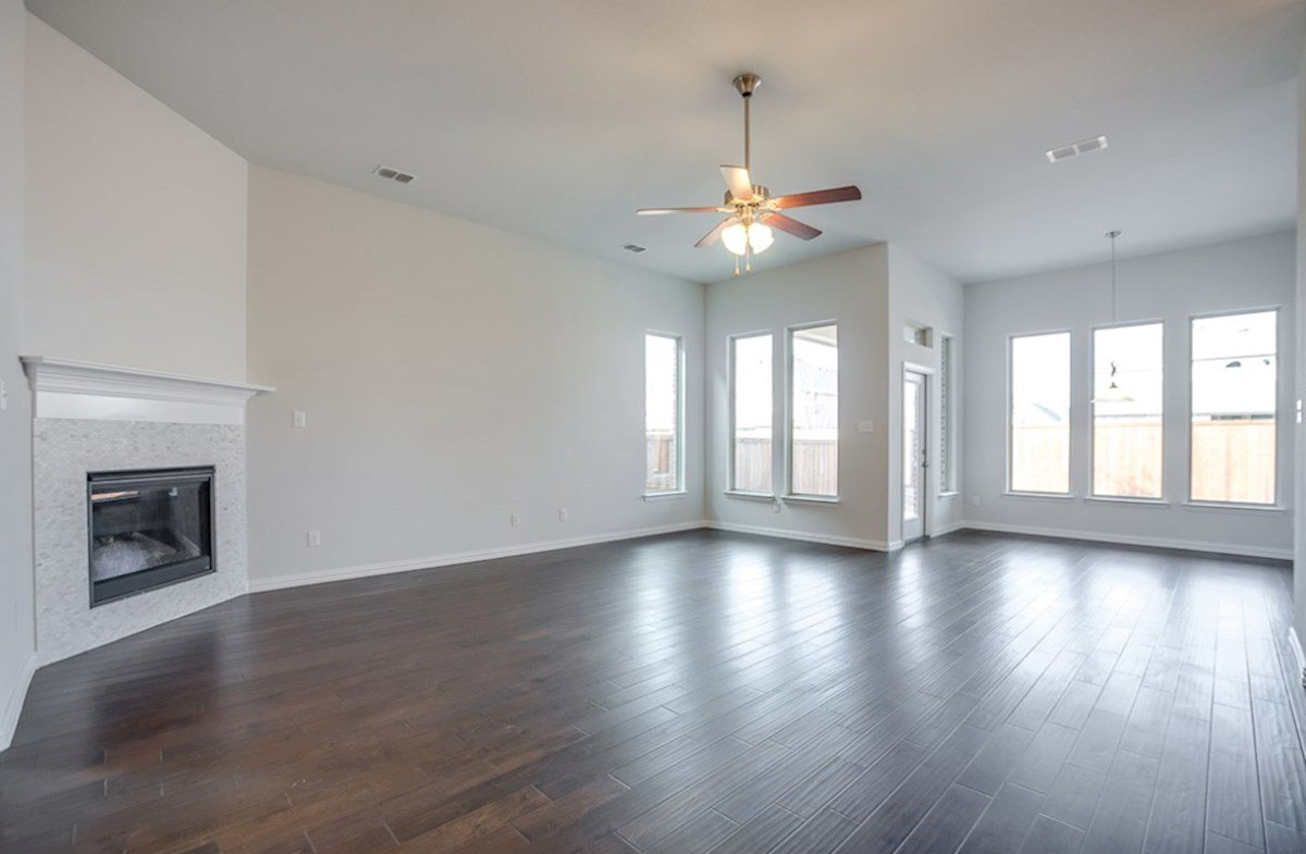 Galveston quick move-in great room and breakfast nook with wood floors