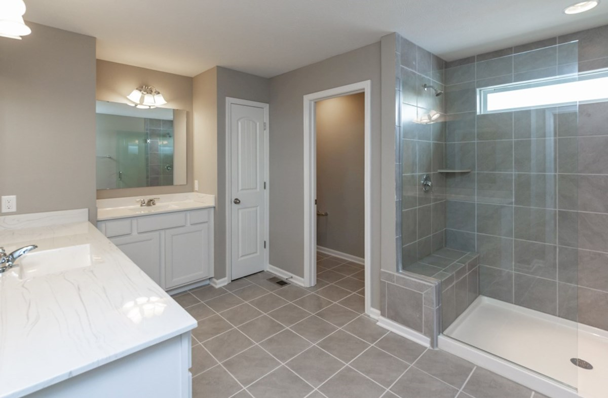 Shelby quick move-in master bath dual sinks and large shower
