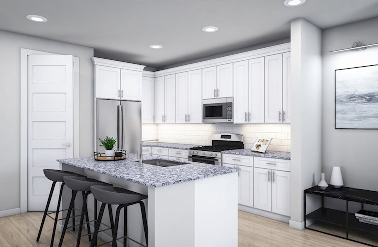 Baltic quick move-in open kitchen with wood floors and large island
