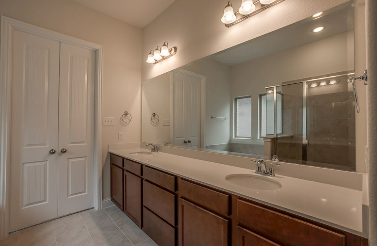 Brazos quick move-in master bathroom with double sinks