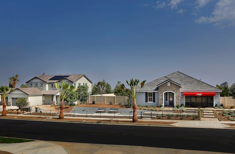 two-story and single-story model homes
