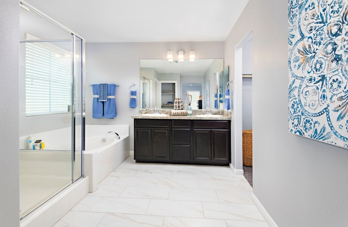 Hyde Park Mesquite spa-inspired master bath in the Mesquite