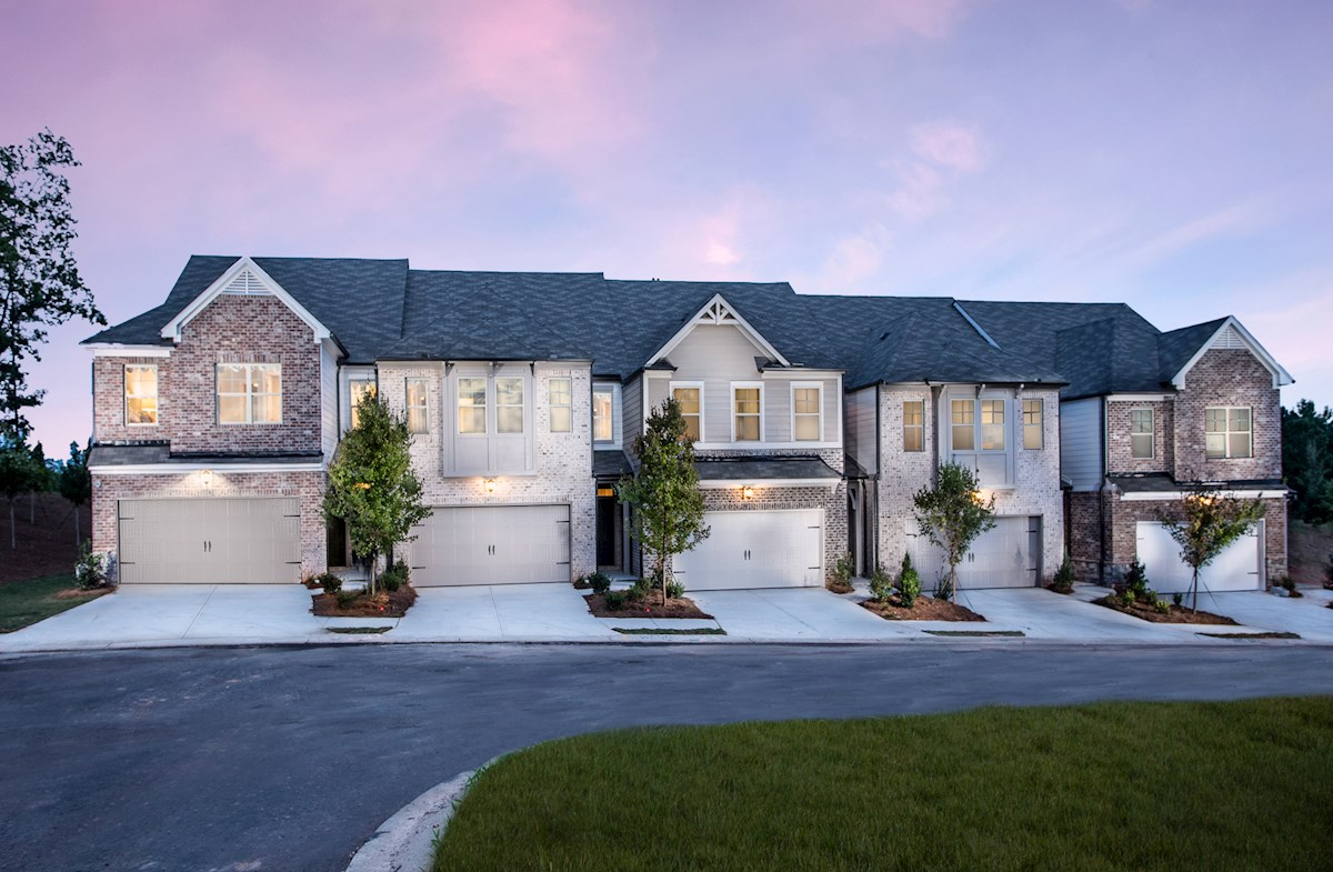 2-story townhomes with front-loading garages