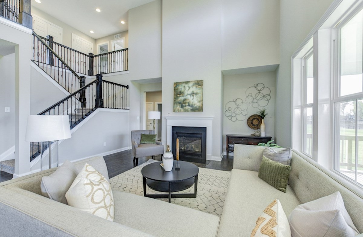 Hampshire Meridian Collection Keystone two-story great room with fireplace