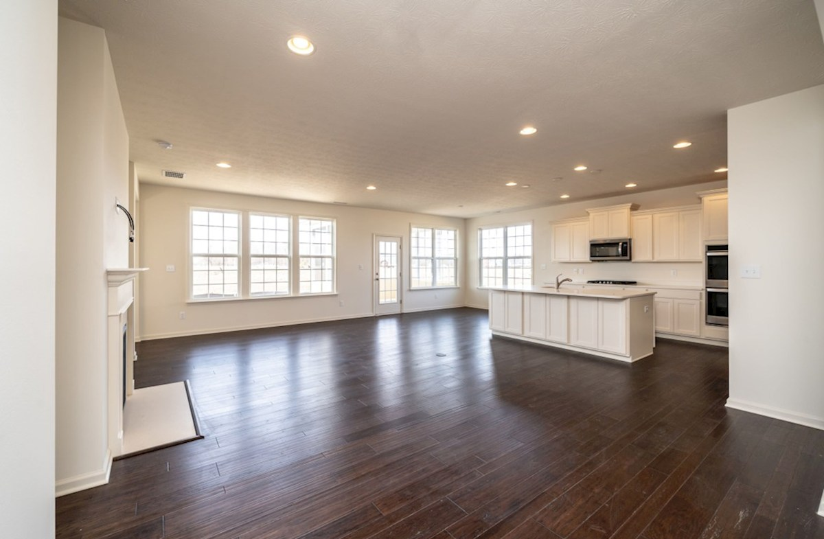 Greenwich quick move-in open great room with hardwood floors