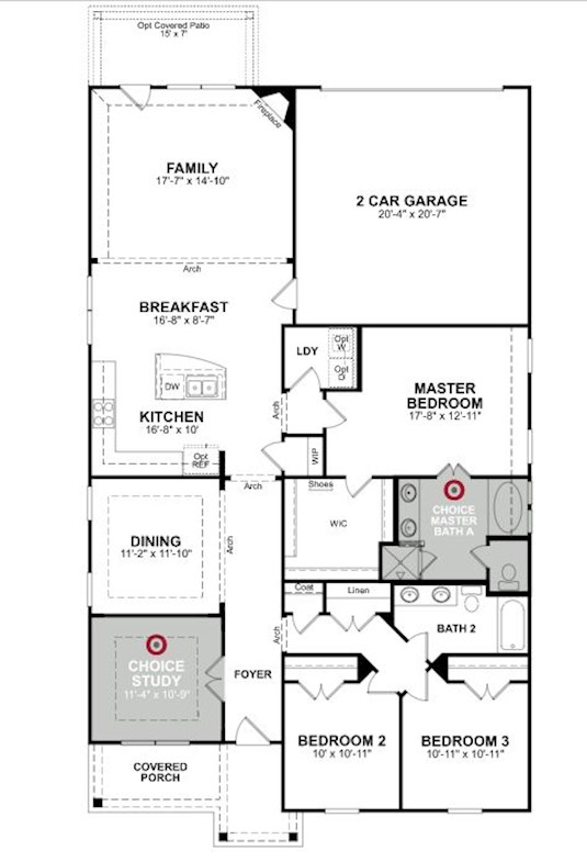 Main floor plan for 1st Floor Front Entry