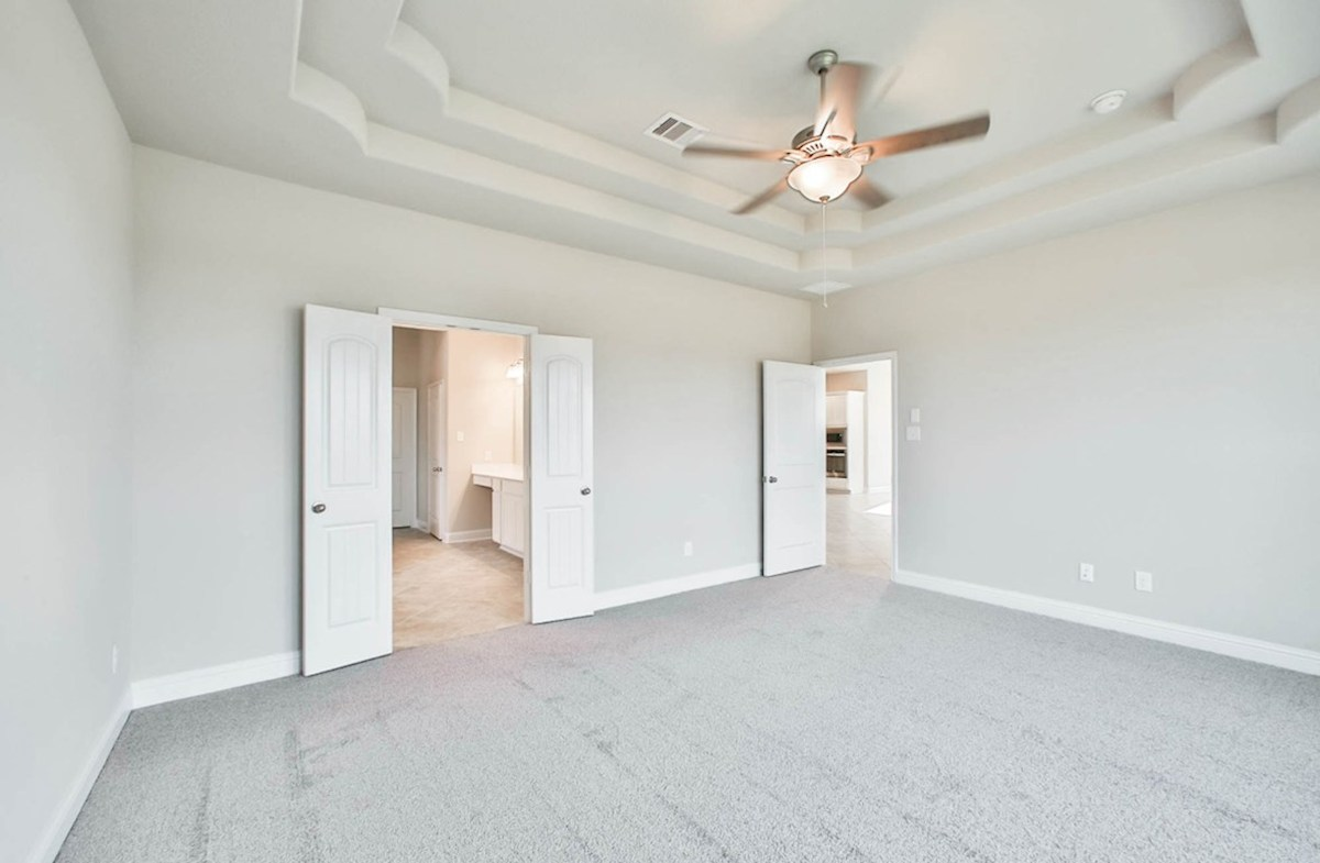 Fredericksburg quick move-in spacious master bedroom with tray ceiling