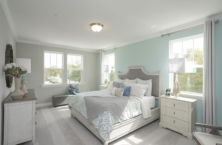 Sherwood light filled primary bedroom with accent wall