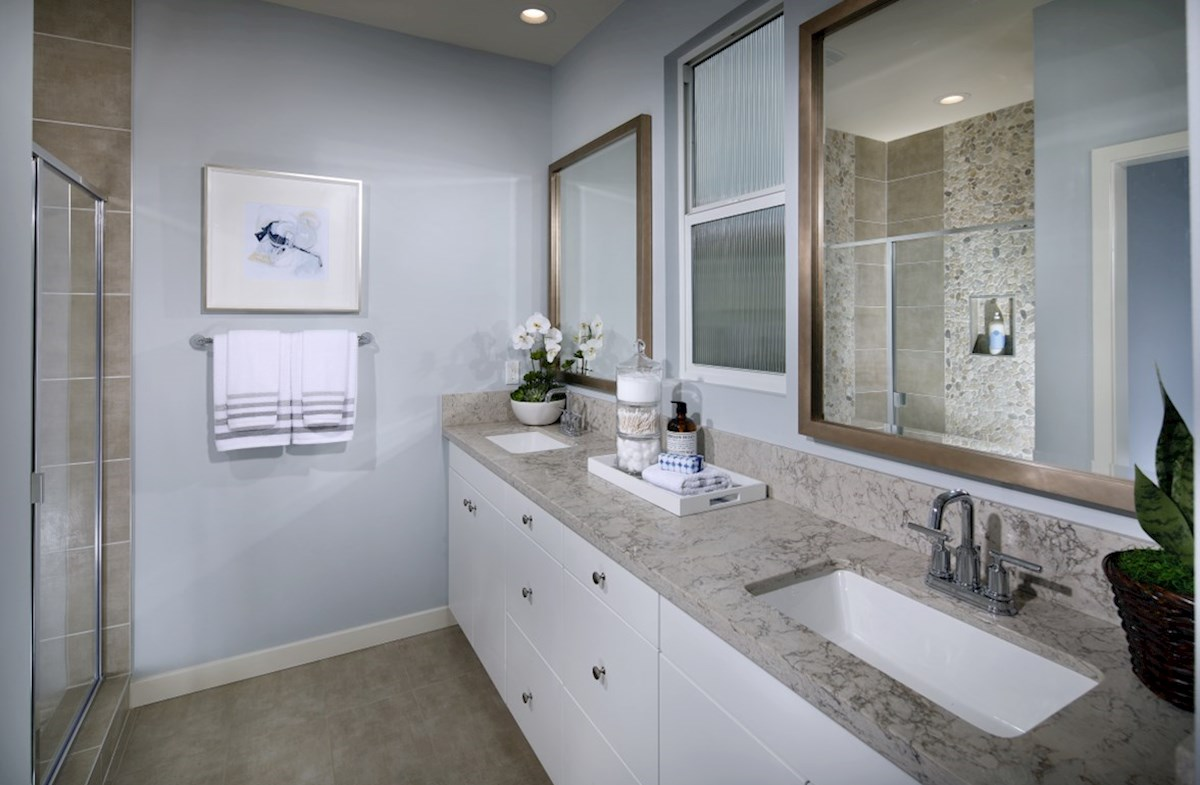 Mission Lane Laurel Separate vanities give you more space and privacy