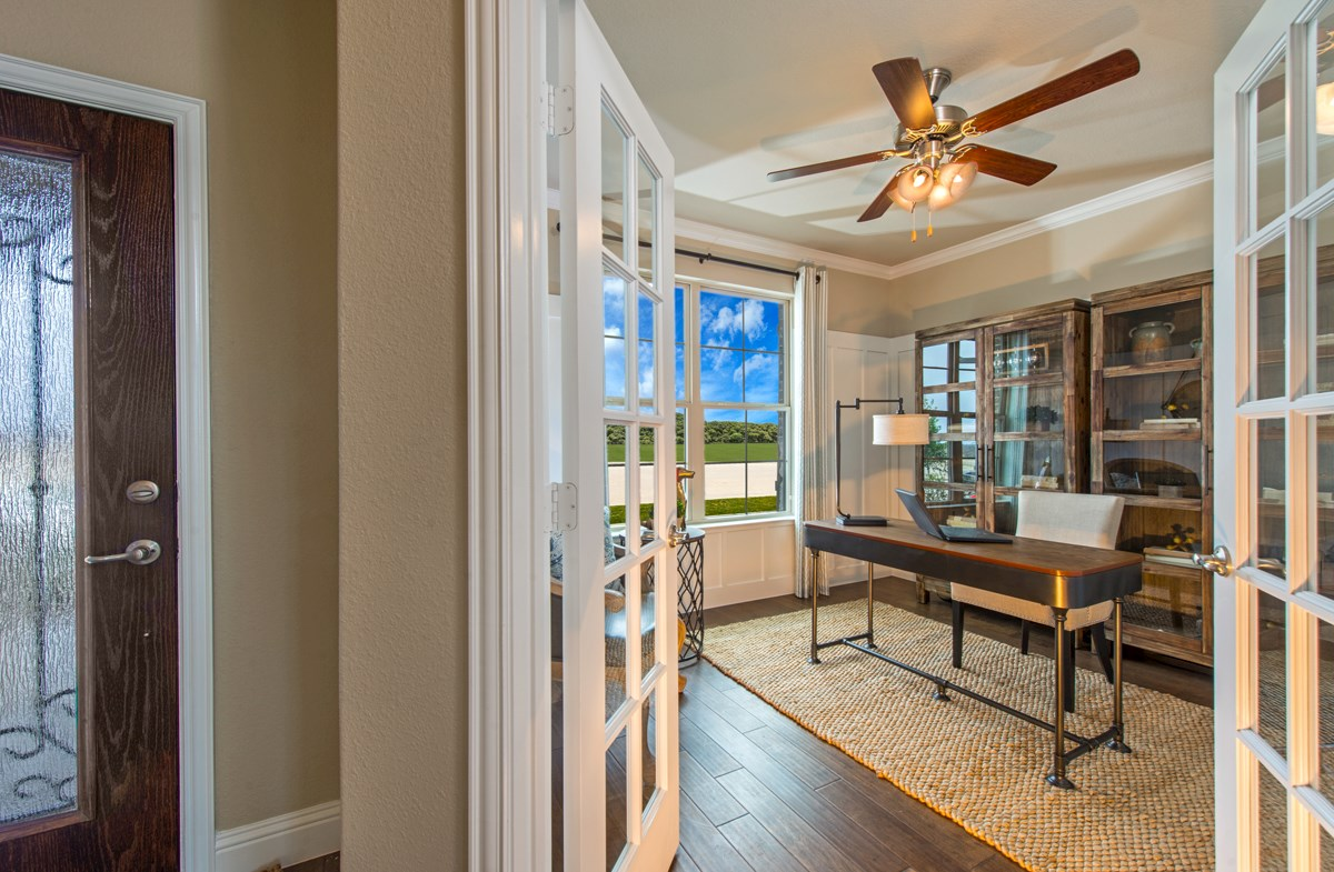 private study with French doors