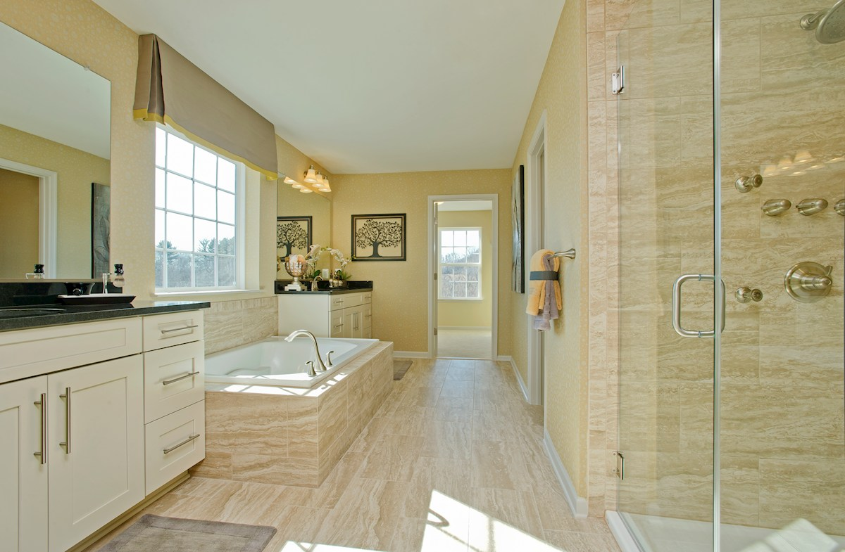 Enclave at Westmount Federalsburg Spa-inspired master bathroom