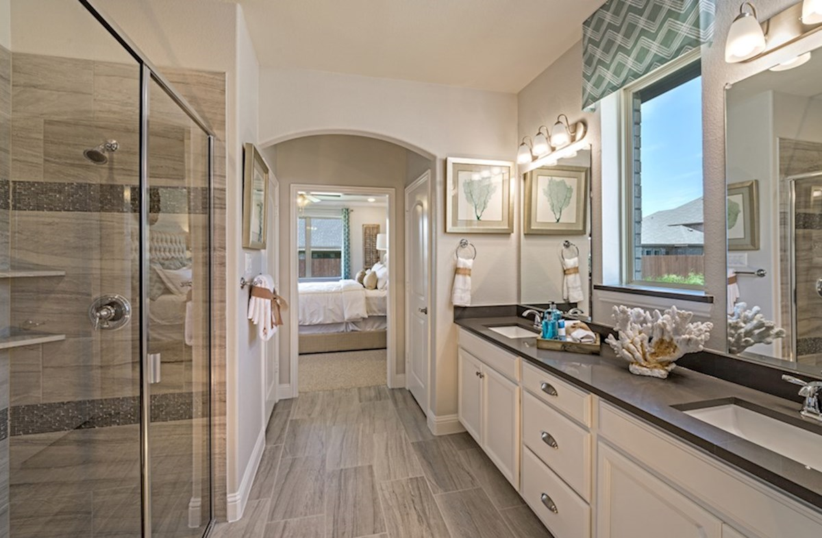 Creeks of Legacy Avalon Avalon master bathroom with double vanities