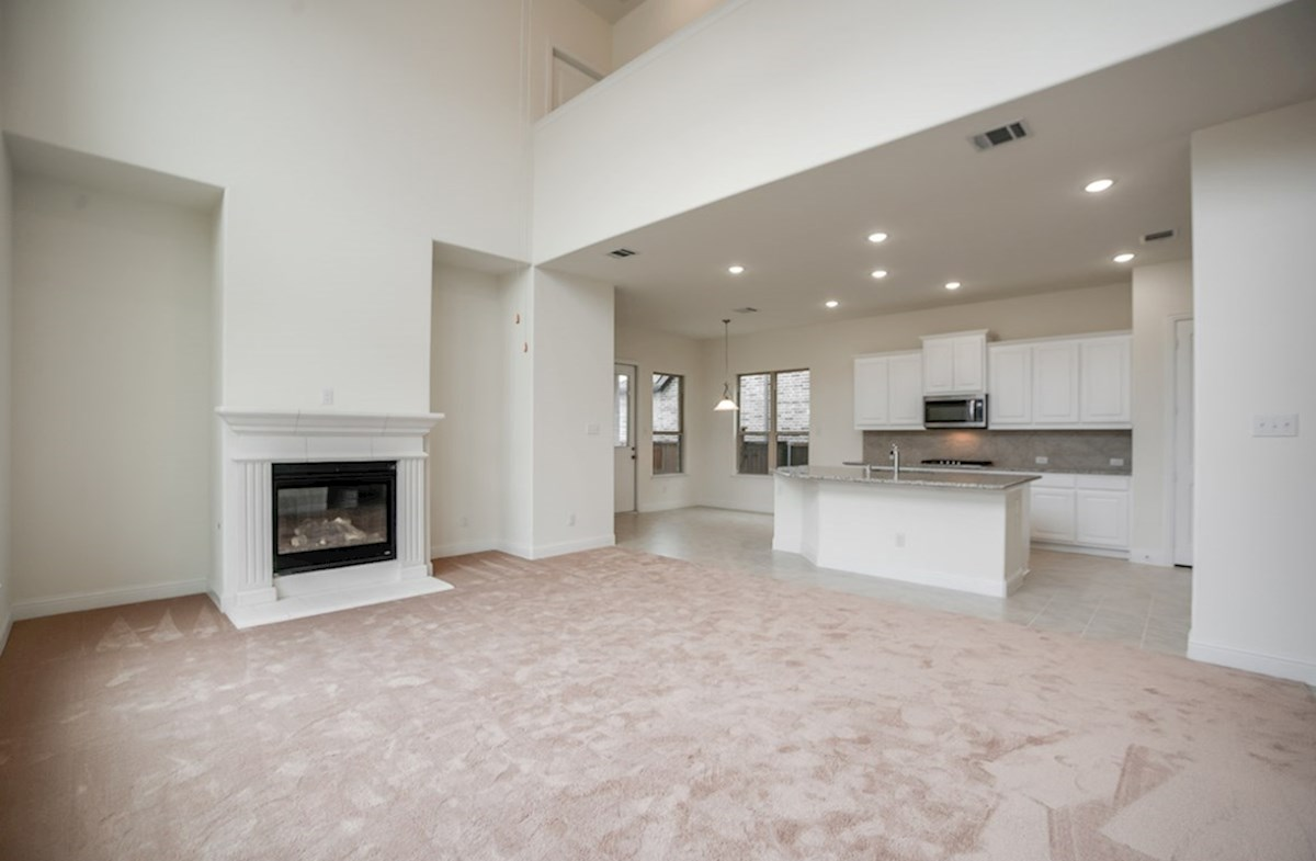 Whitney quick move-in open great room with fireplace and carpet