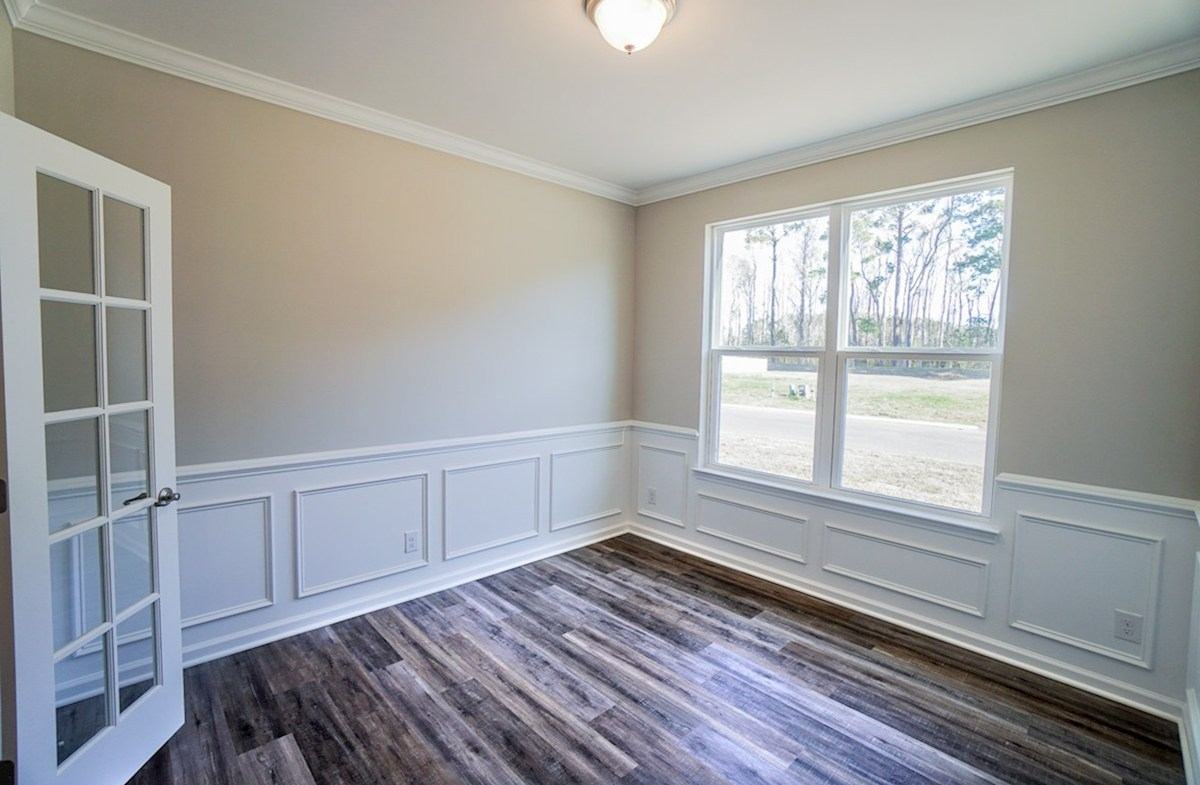 Southport quick move-in study features French doors and luxury plank flooring