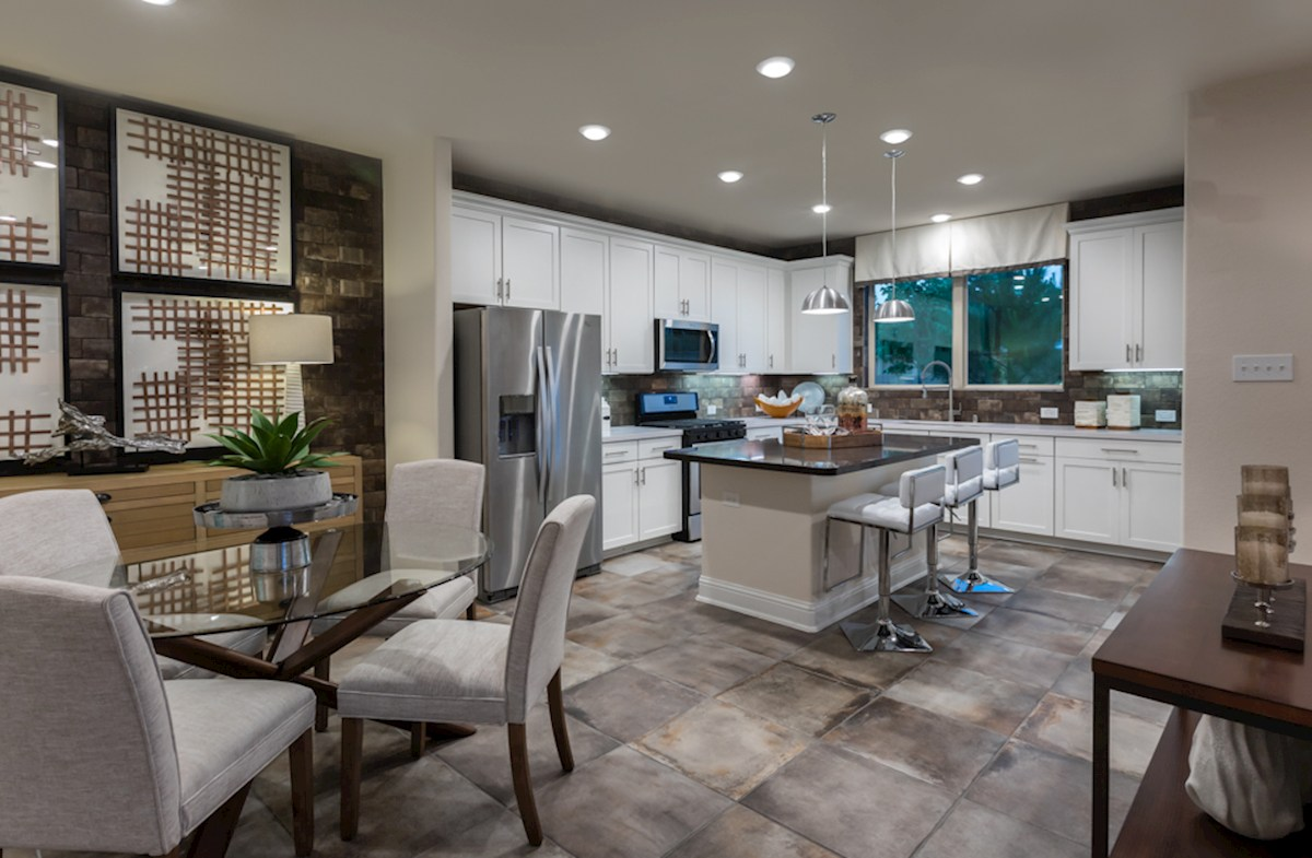 The Woodlands Townhomes Sycamore open kitchen and dining area