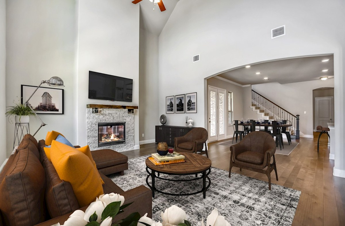 The Grove at Craig Ranch Brenham Brenham great room with tall ceilings