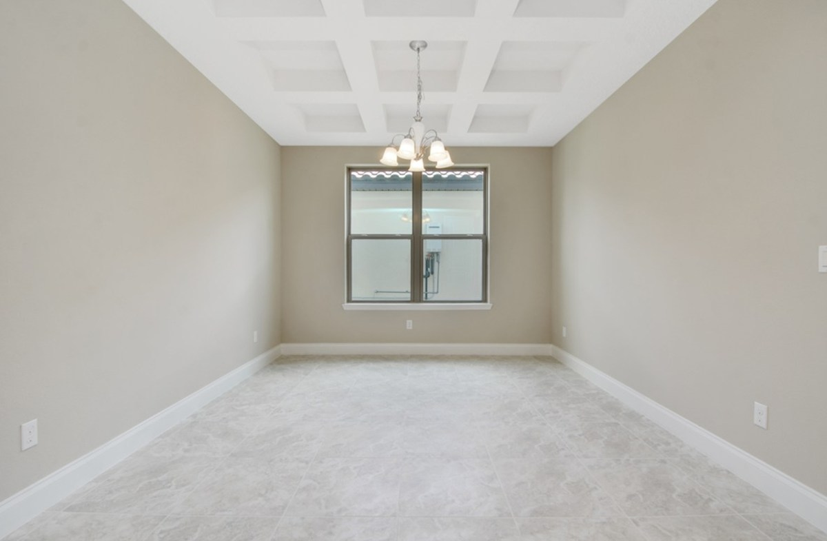 Luciana quick move-in dining with coffered ceilings