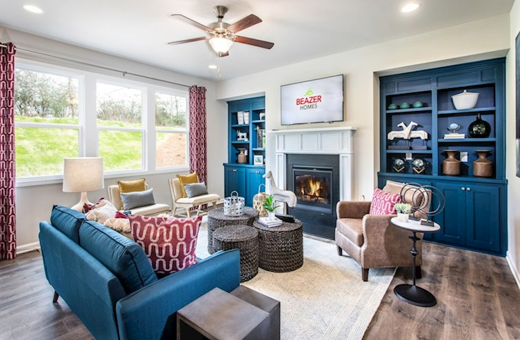 Belmont North Athena Family room with fireplace