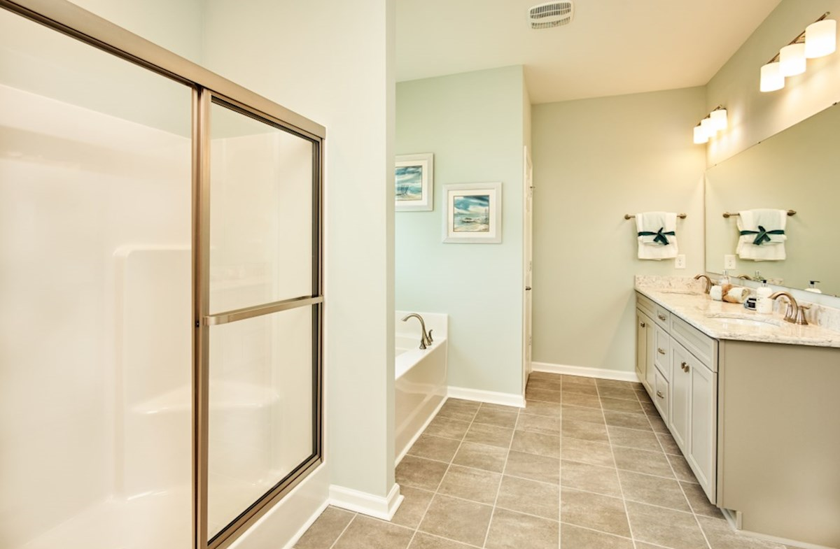 Surfside Plantation Savannah master bathroom features dual shower and bathtub