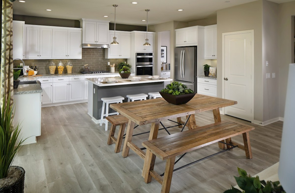 Solstice Indigo Gourmet kitchen boasts an oversized island, stainless steel appliances, and stunning granite countertops