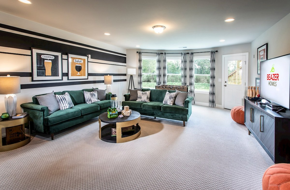 Olde Mill Creek Laurelwood Finished Basement with carpet