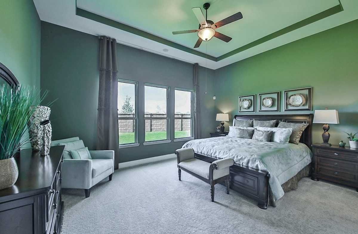 Galveston quick move-in Galveston master bedroom with tray ceilings and carpet flooring
