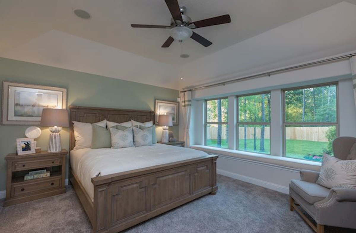 King Crossing Madison master bedroom with tray ceiling