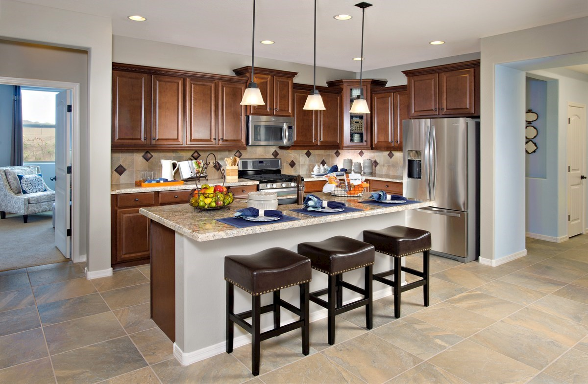 granite countertops and large kitchen island