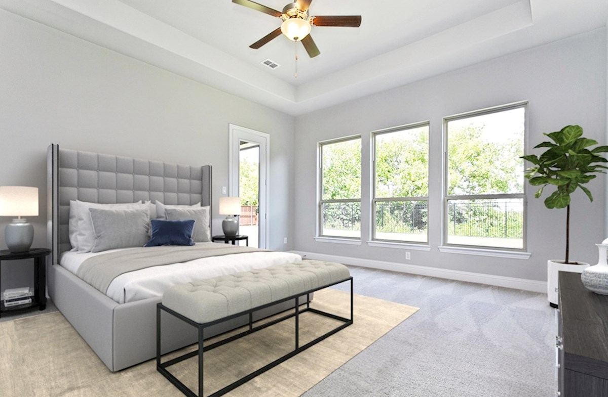 Miramonte Deauville Deauville master bedroom with tray ceiling and large windows