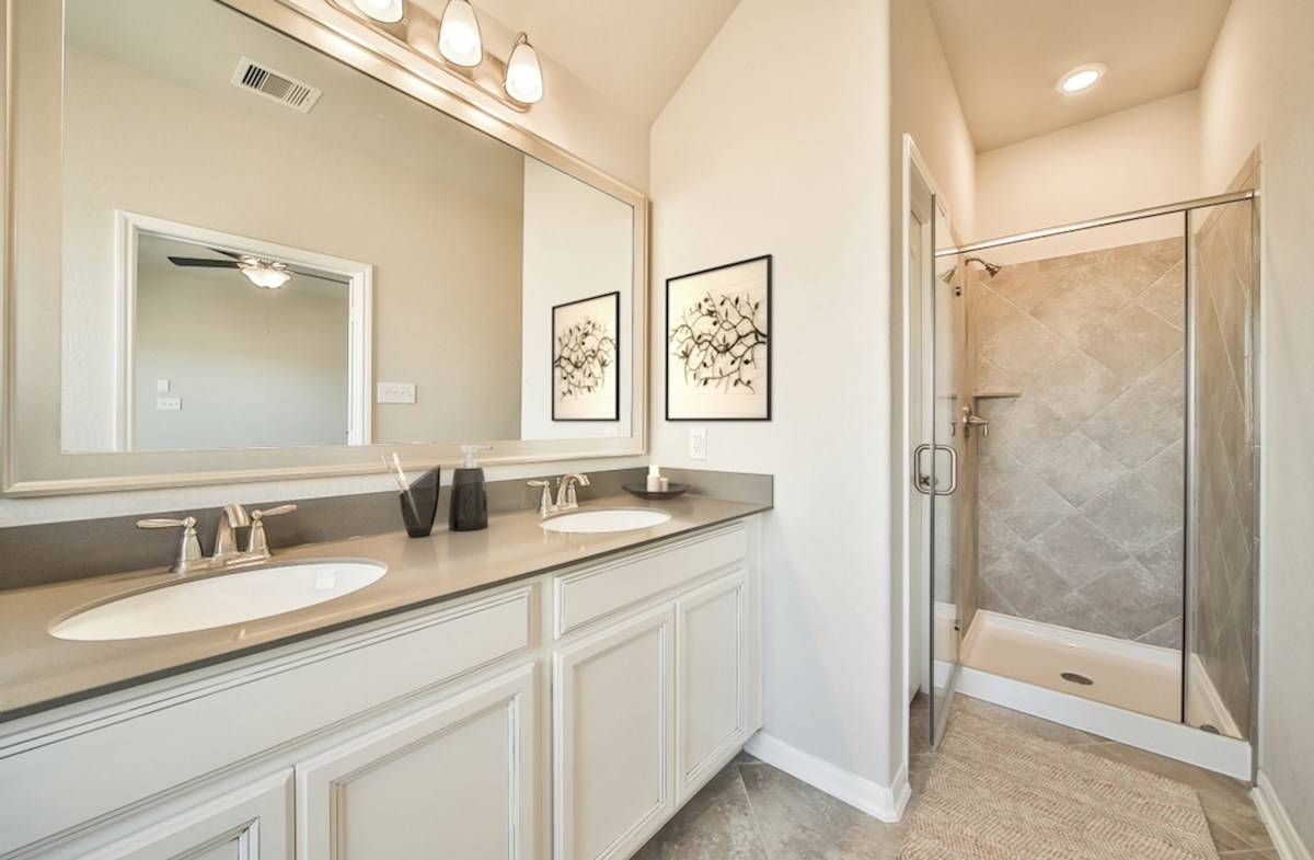 Villages at Harmony Hickory master bathroom with shower and tile flooring