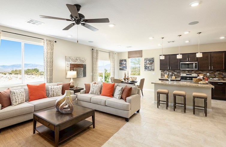 open concept family room in the Verano