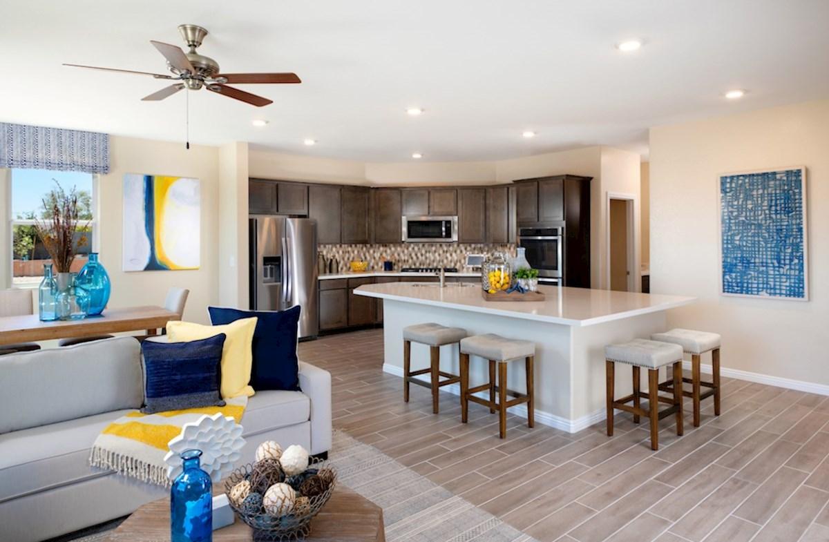 Colton Ranch Sienna oversized granite island in the Sienna kitchen