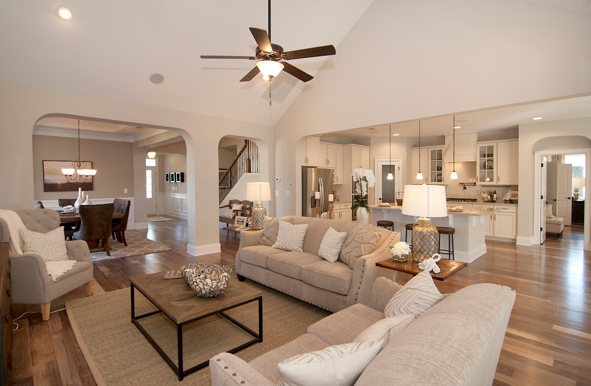 Balmoral at Market Common District Sinclair Living Room with Walnut Artersian Floors