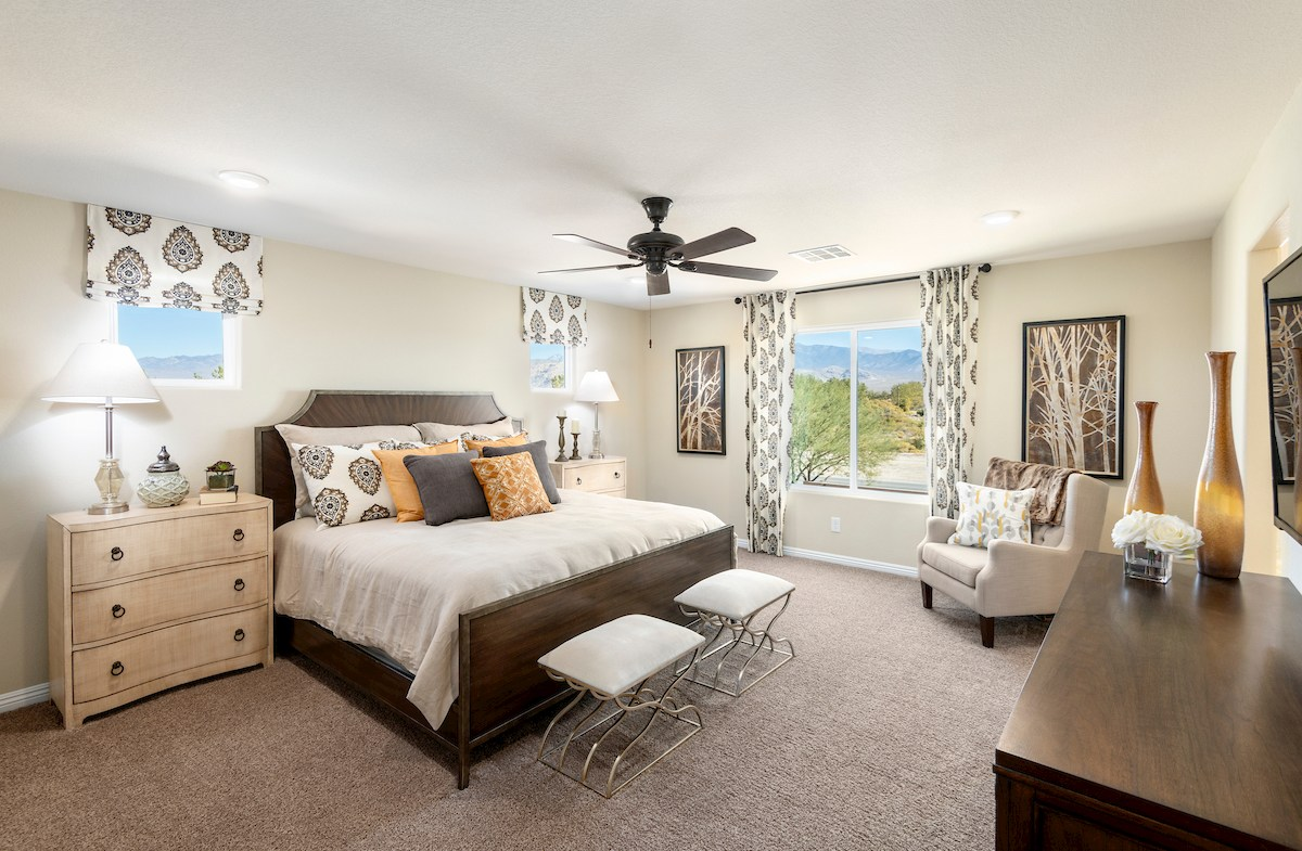 master bedroom is airy and light in the Verano