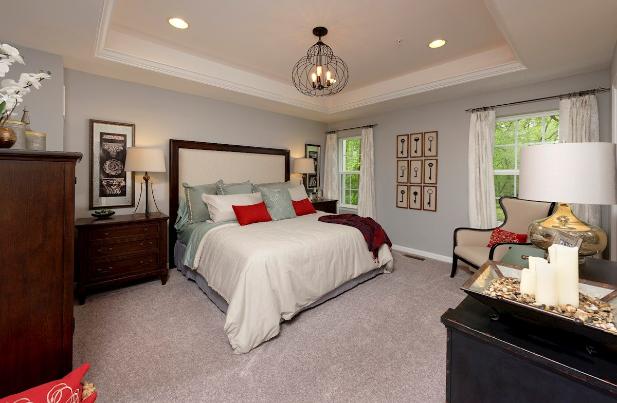 The Preserve at Windlass Run Townhomes  Vienna tray ceilings in master