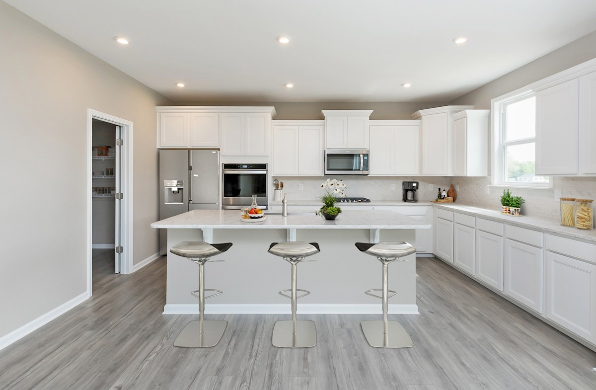 gourmet kitchen with white cabinets