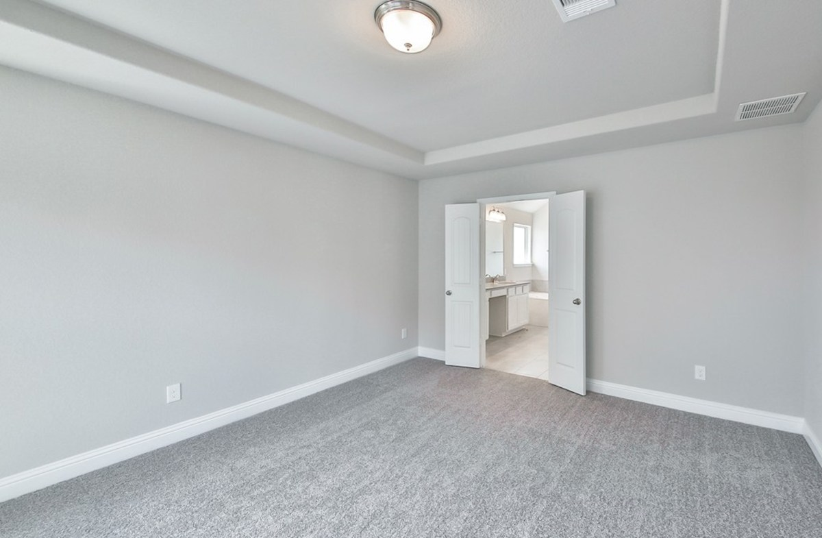 Juniper quick move-in  master bedroom with tray ceiling and carpet flooring