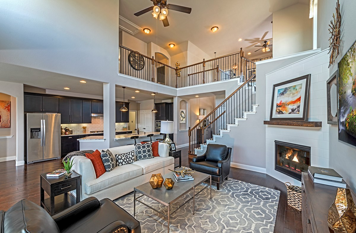 Brookhaven great room with soaring ceilings