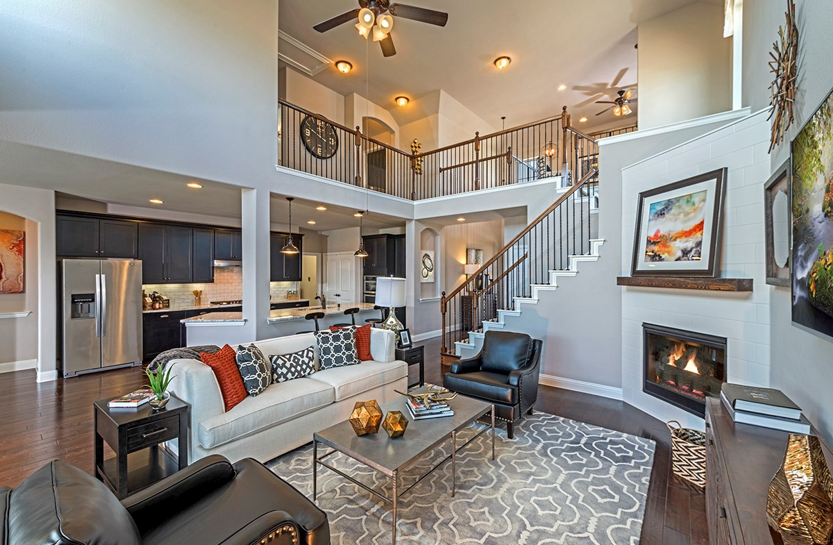 The Grove at Craig Ranch Brookhaven Brookhaven great room with soaring ceilings