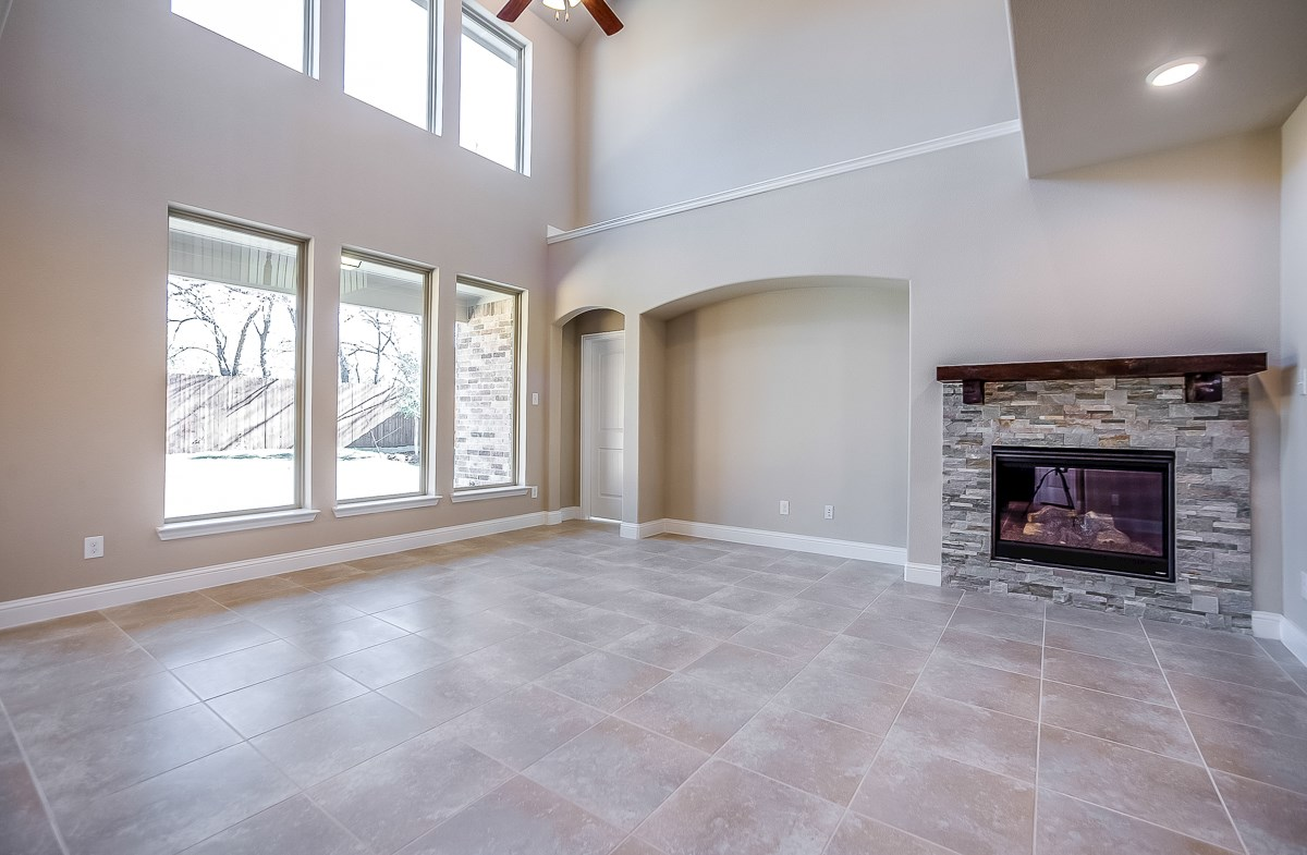 Aberdeen quick move-in stone fireplace in great room