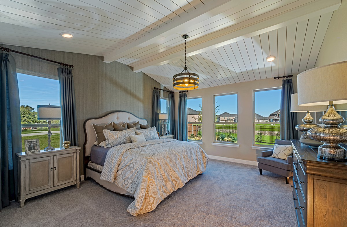 master bedroom with decorative ceiling