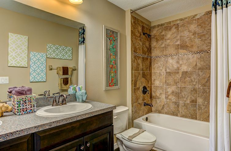 Long Lake Ranch Captiva glass mosaic trim bathroom