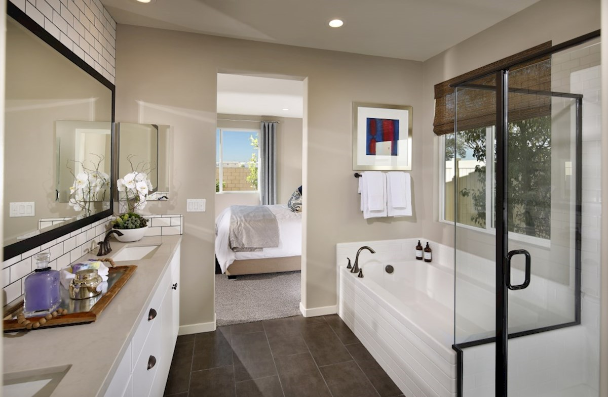 Provence at Heritage Ranch Chardonnay Spa-inspired luxury abounds in the deluxe master bath, complete with separate shower and soaking tub.